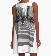 Zebra crossing, New York City, Manhattan, Brooklyn, New York, streets, buildings, pedestrians, #NewYorkCity, #Manhattan, #Brooklyn, #NewYork, #streets, #buildings, #skyscrapers, #cars, #pedestrians A-Line Dress