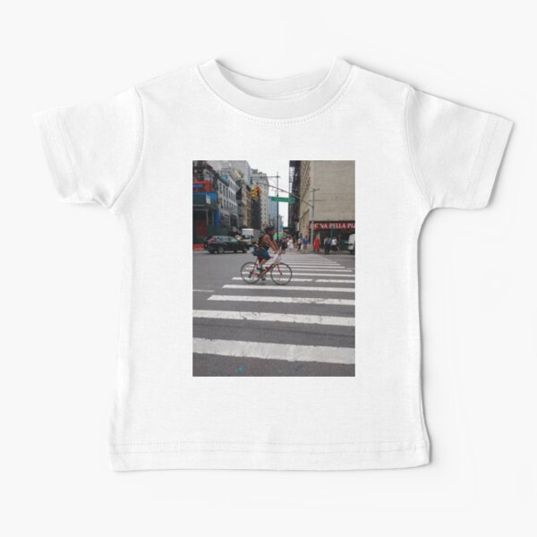 Zebra crossing, New York City, Manhattan, Brooklyn, New York, streets, buildings, pedestrians, #NewYorkCity, #Manhattan, #Brooklyn, #NewYork, #streets, #buildings, #skyscrapers, #cars, #pedestrians Baby T-Shirt