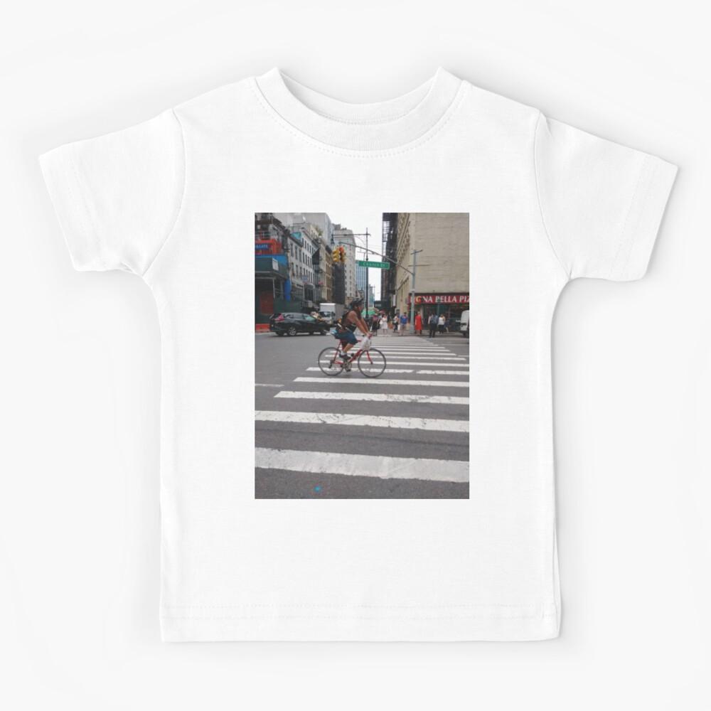 Zebra crossing, New York City, Manhattan, Brooklyn, New York, streets, buildings, pedestrians, #NewYorkCity, #Manhattan, #Brooklyn, #NewYork, #streets, #buildings, #skyscrapers, #cars, #pedestrians Kids T-Shirt