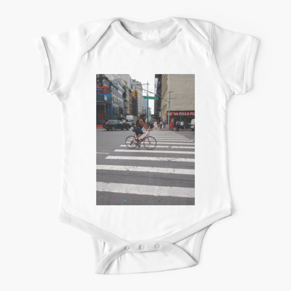 Zebra crossing, New York City, Manhattan, Brooklyn, New York, streets, buildings, pedestrians, #NewYorkCity, #Manhattan, #Brooklyn, #NewYork, #streets, #buildings, #skyscrapers, #cars, #pedestrians Short Sleeve Baby One-Piece