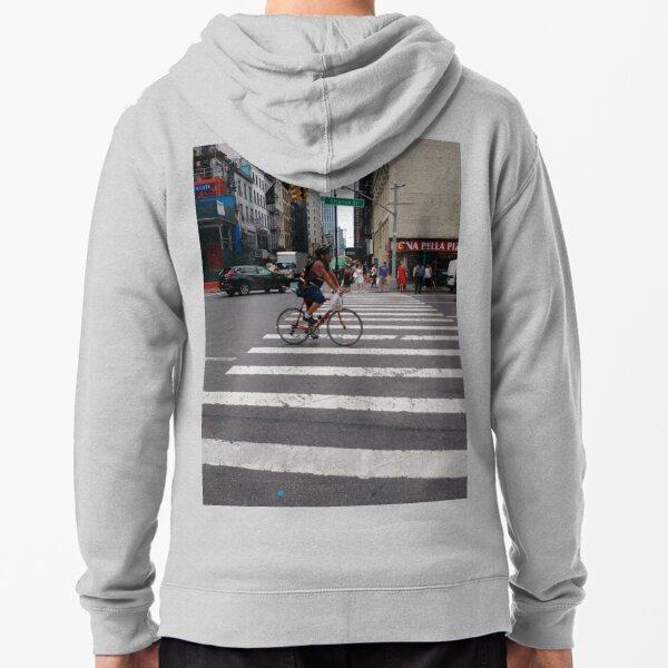 Zebra crossing, New York City, Manhattan, Brooklyn, New York, streets, buildings, pedestrians, #NewYorkCity, #Manhattan, #Brooklyn, #NewYork, #streets, #buildings, #skyscrapers, #cars, #pedestrians Zipped Hoodie