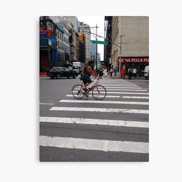 Zebra crossing, New York City, Manhattan, Brooklyn, New York, streets, buildings, pedestrians, #NewYorkCity, #Manhattan, #Brooklyn, #NewYork, #streets, #buildings, #skyscrapers, #cars, #pedestrians Canvas Print