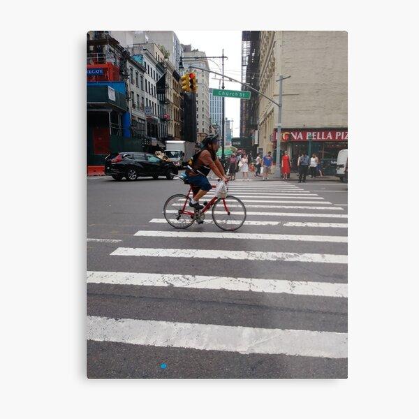 Zebra crossing, New York City, Manhattan, Brooklyn, New York, streets, buildings, pedestrians, #NewYorkCity, #Manhattan, #Brooklyn, #NewYork, #streets, #buildings, #skyscrapers, #cars, #pedestrians Metal Print