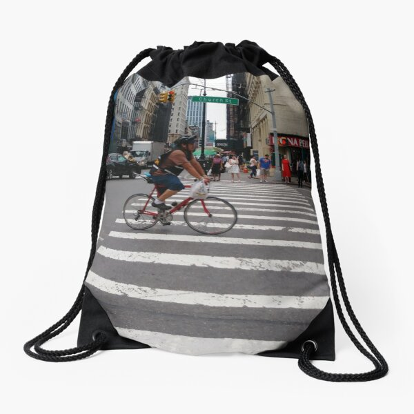 Zebra crossing, New York City, Manhattan, Brooklyn, New York, streets, buildings, pedestrians, #NewYorkCity, #Manhattan, #Brooklyn, #NewYork, #streets, #buildings, #skyscrapers, #cars, #pedestrians Drawstring Bag