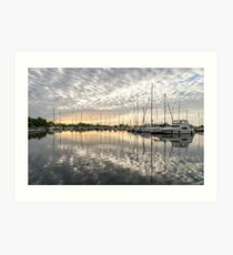 Herringbone Sky Patterns with Boats and Yachts Art Print