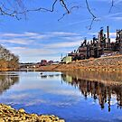 Reflection On The Lehigh - Bethlehem PA  by DJ Florek