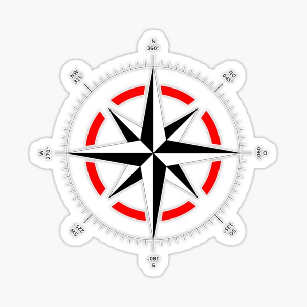 Compass rose, Windrose, Rose of the Winds. Sticker