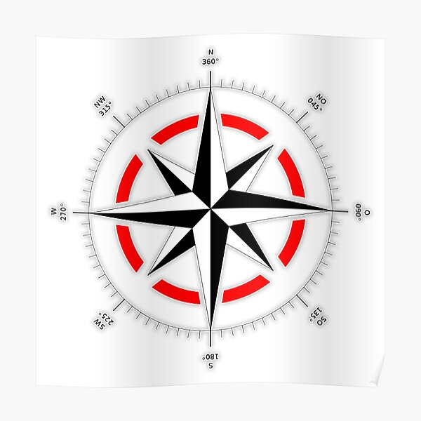 Compass rose, Windrose, Rose of the Winds. Poster