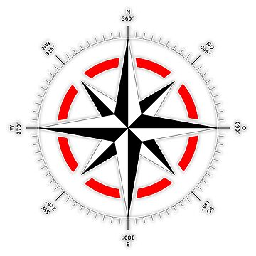 Compass rose, Windrose, Rose of the Winds. by TOMSREDBUBBLE