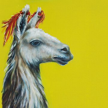 Lama's head on a yellow background, a painting painted in oil paints by Eevlada