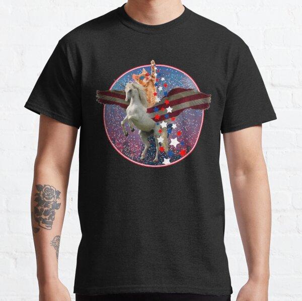 Meowica 4th of July Shirt Unicorn Cat American Flag Classic T-Shirt