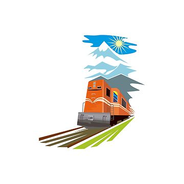 Diesel Train Traveling Retro by retrovectors