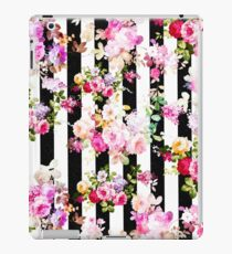 Black and white stripes bright pink roses floral iPad Case/Skin