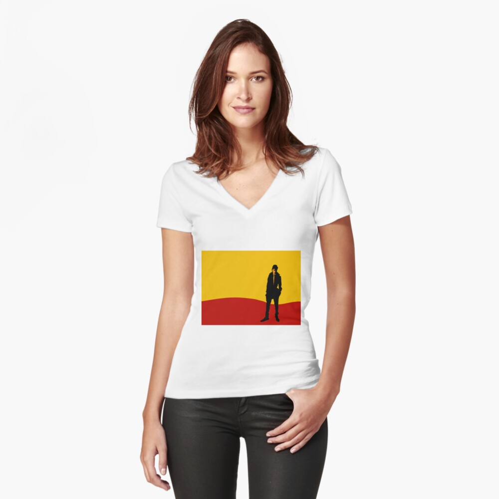 Figure in a Landscape Fitted V-Neck T-Shirt