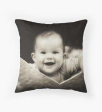 Smiles(Dark Sepia w/ Vignetting) Throw Pillow