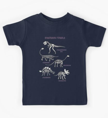 Dinosaur Fossils - cream on brown - Fun graphic pattern by Cecca Designs Kids Clothes