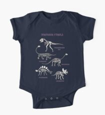 Dinosaur Fossils - cream on brown - Fun graphic pattern by Cecca Designs One Piece - Short Sleeve
