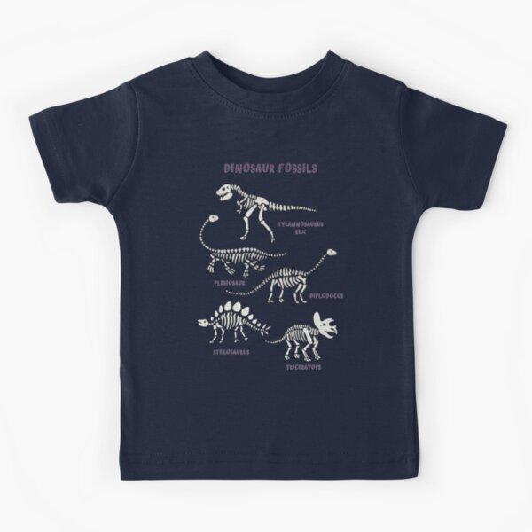 Dinosaur Fossils - cream on brown - Fun graphic pattern by Cecca Designs Kids T-Shirt