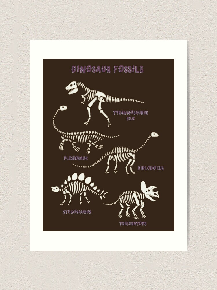 Alternate view of Dinosaur Fossils - cream on brown - Fun graphic pattern by Cecca Designs Art Print