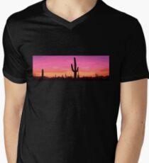 Desert Sunset Cactus Men's V-Neck T-Shirt