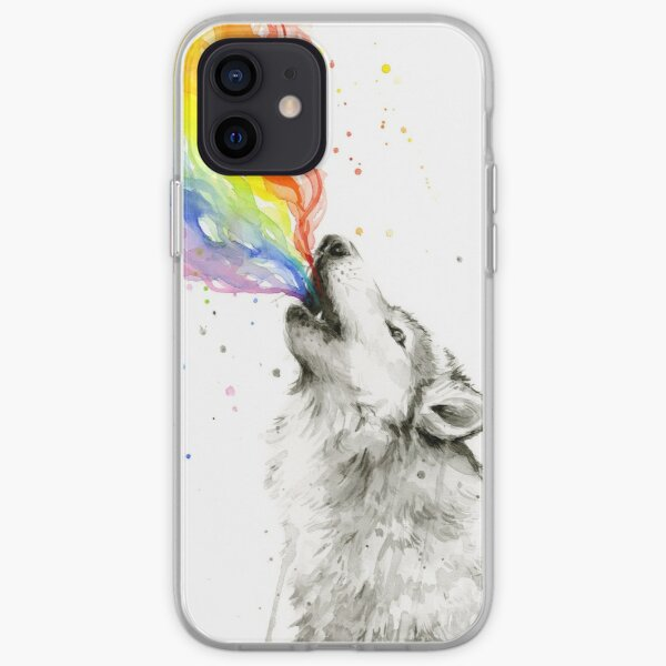 Wolf Howling Rainbow  iPhone Soft Case
