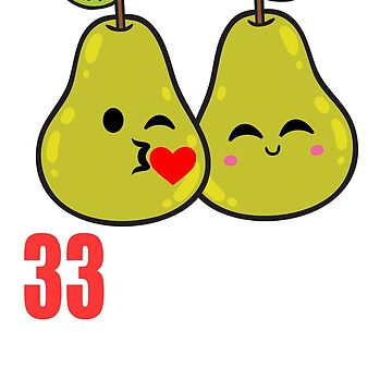 33rd Wedding Anniversary Funny Pear Couple Gift by 8fiveone4