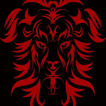 Tribal Tattoo Art Red Lion Head by Atteestude