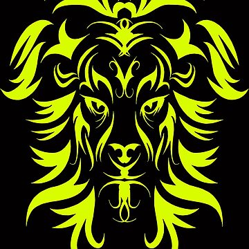 Tribal Tattoo Art Yellow Lion Head by Atteestude