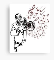 Louis Armstrong Playing Trumpet with musical notes, jazz masters Canvas Print