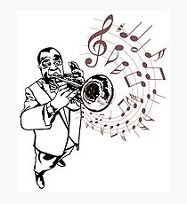 Louis Armstrong Playing Trumpet with musical notes, jazz masters Photographic Print