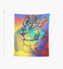 Watercolor Lion Wall Tapestry