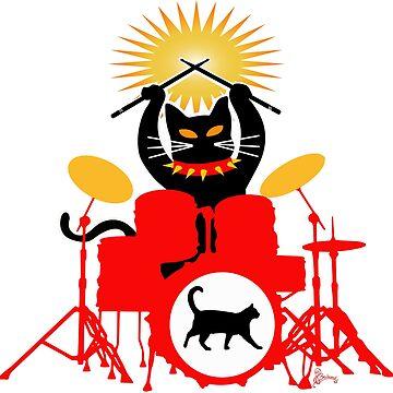 Drummer Cat by LOrnamentalArt