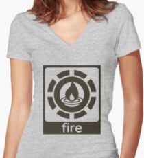 Fire Elements Design Nature Gift Idea Women's Fitted V-Neck T-Shirt