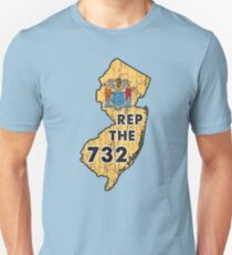 REP THE 732 - POPULAR DISTRESSED DESIGN WITH STATE FLAG AND AREA CODE 732 Unisex T-Shirt