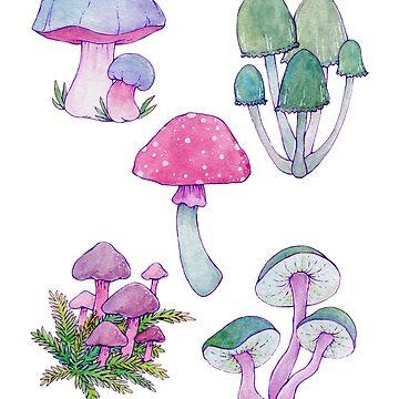 Whimsical Bright Watercolor Mushroom Design by JenniferCharlee