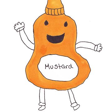 Cute Kawaii Cartoon Mustard Bottle by ValeriesGallery