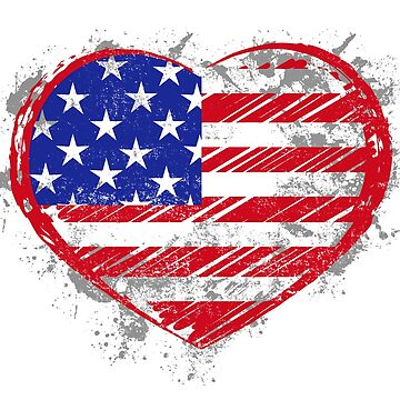 American Flag Heart 4th of July by luibeton