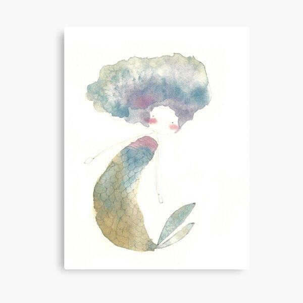 Rainbow Watercolor Mermaid Canvas Print