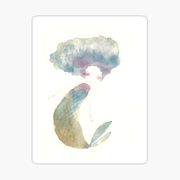 Rainbow Watercolor Mermaid Sticker