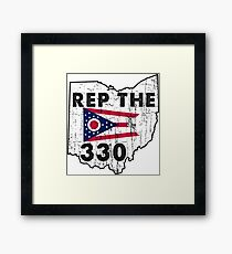 REP THE 330 - POPULAR DISTRESSED DESIGN WITH STATE FLAG AND AREA CODE 330 Framed Print