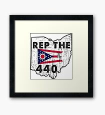 REP THE 440 - POPULAR DISTRESSED DESIGN WITH STATE FLAG AND AREA CODE 440 Framed Print