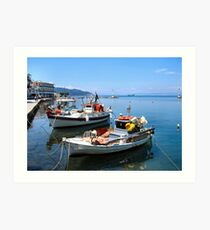 BOATS IN THASSOS HARBOUR.2. Art Print
