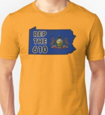 REP THE 610 - POPULAR DISTRESSED DESIGN WITH STATE FLAG AND AREA CODE 610 Unisex T-Shirt