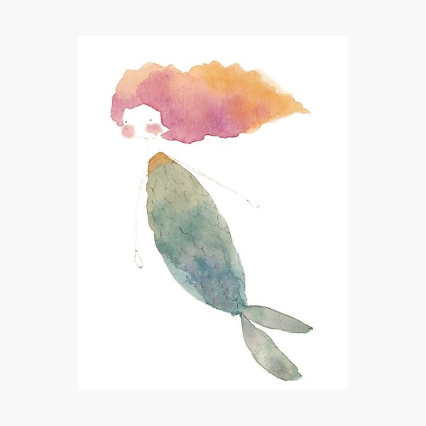 Fire Watercolor Mermaid Photographic Print