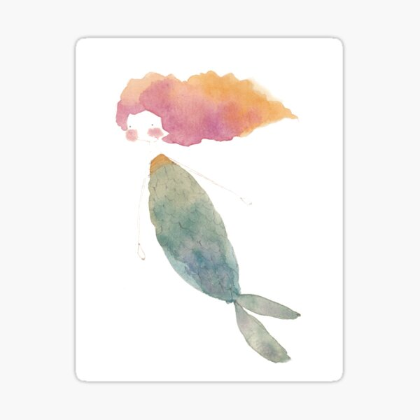 Fire Watercolor Mermaid Sticker