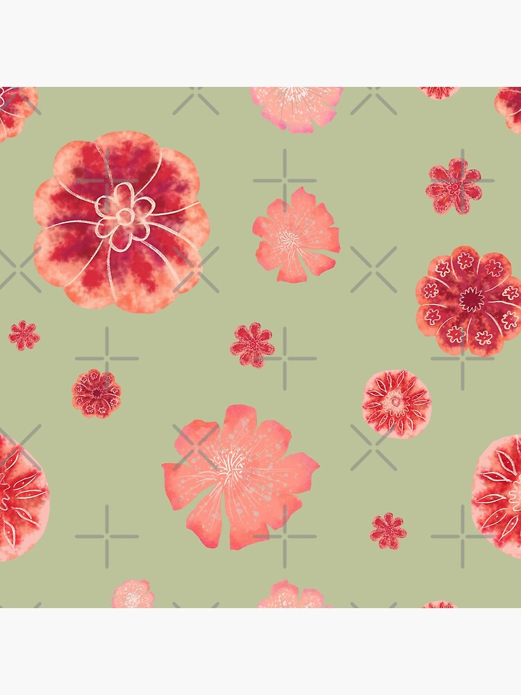 Red flowers on sage green pattern  by andreeadumez