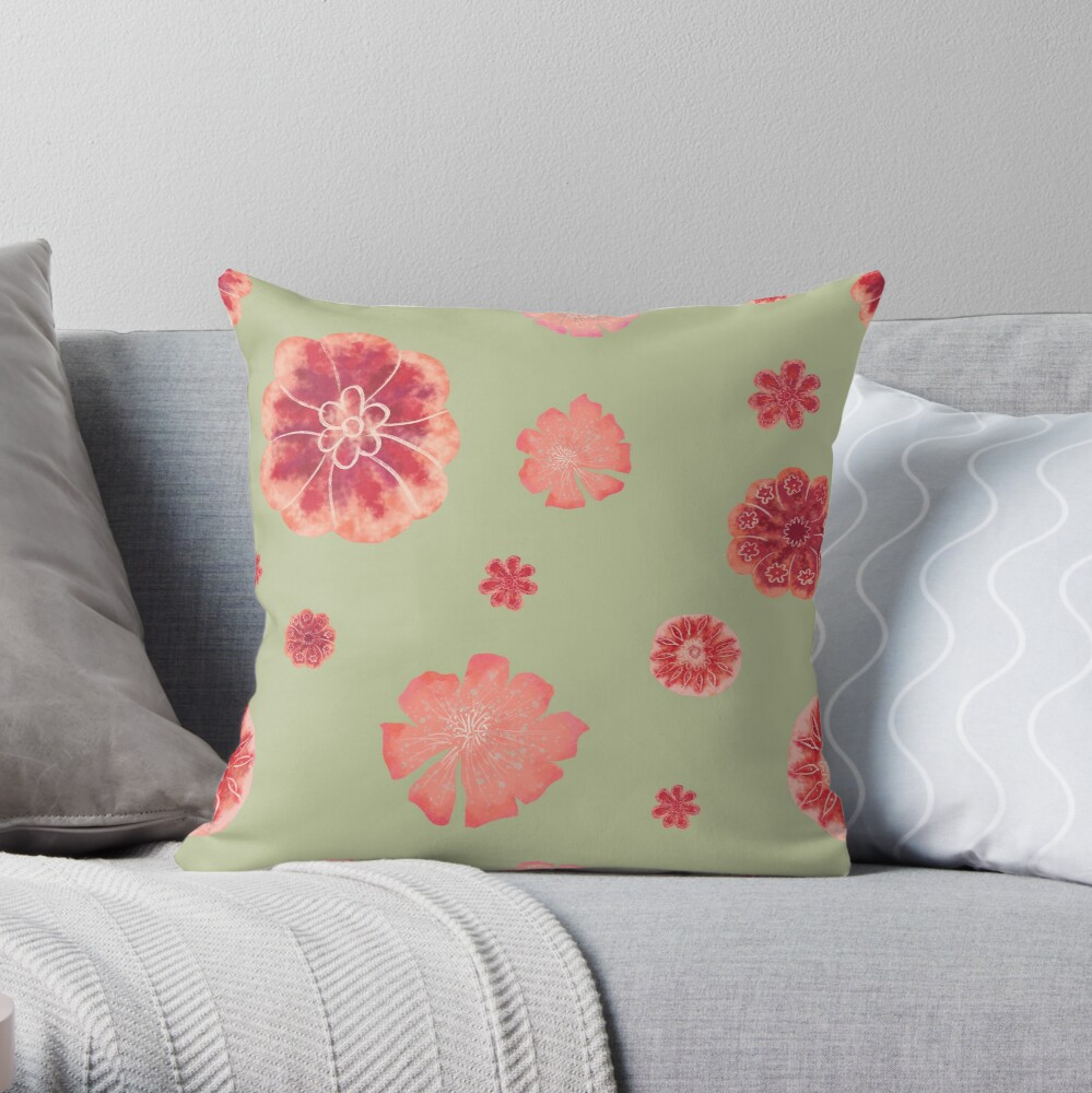 Red flowers on sage green pattern  Throw Pillow