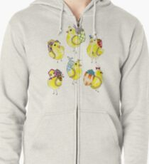 Easter Chicks & Eggshell Baskets Zipped Hoodie