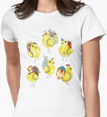 Easter Chicks & Eggshell Baskets Women's Fitted T-Shirt