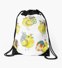 Easter Chicks & Eggshell Baskets Drawstring Bag